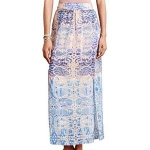 Maeve Anthropologie Silk Double Slit Waimea Skirt